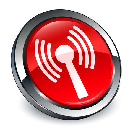 Wlan network icon isolated on 3d red round button abstract illustration