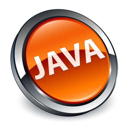 Java isolated on 3d brown round button abstract illustration