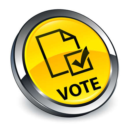 Vote (survey icon) isolated on 3d yellow round button abstract illustration