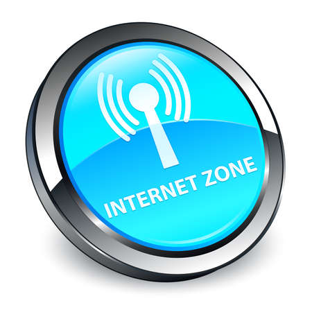 Internet zone (wlan network) isolated on 3d cyan blue round button abstract illustration Stock Photo