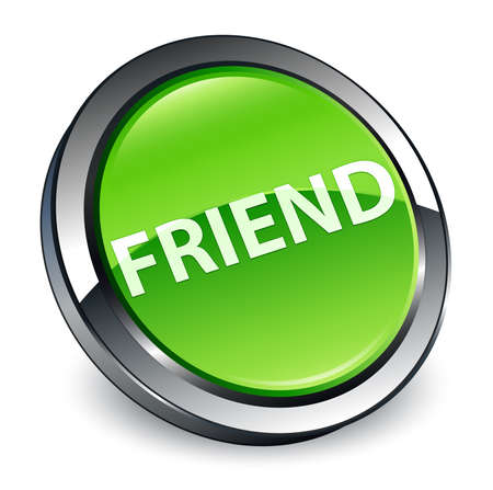 Friend isolated on 3d green round button abstract illustration