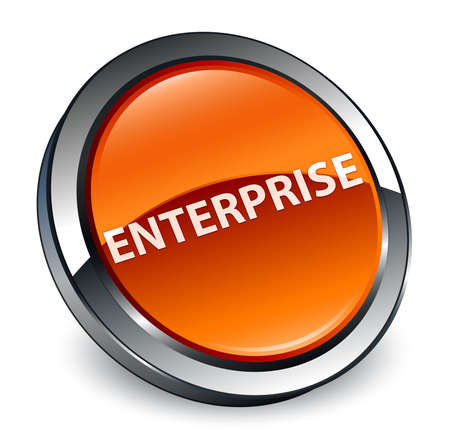 Enterprise isolated on 3d brown round button abstract illustration
