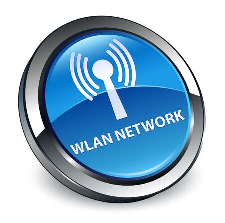 Wlan network isolated on 3d blue round button abstract illustration