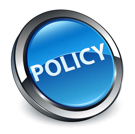 Policy isolated on 3d blue round button abstract illustration