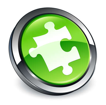 Puzzle icon isolated on 3d green round button abstract illustration