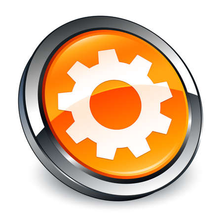 Process icon isolated on 3d orange round button abstract illustration Stock Photo