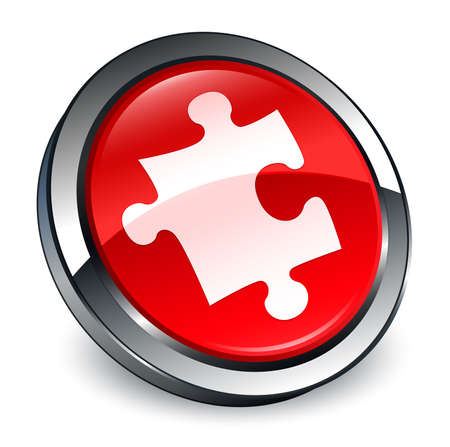 Puzzle icon isolated on 3d red round button abstract illustration