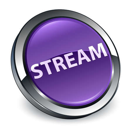 Stream isolated on 3d purple round button abstract illustration