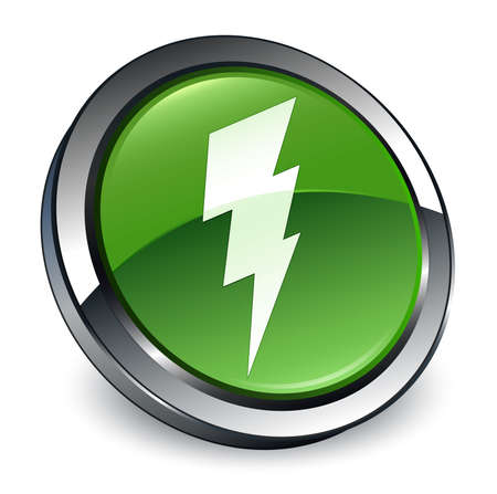 Electricity icon isolated on 3d soft green round button abstract illustration