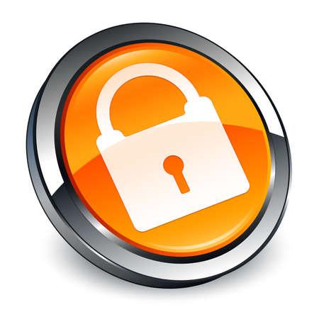 Padlock icon isolated on 3d orange round button abstract illustration