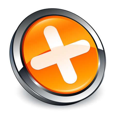 Plus icon isolated on 3d orange round button abstract illustration Stock Photo