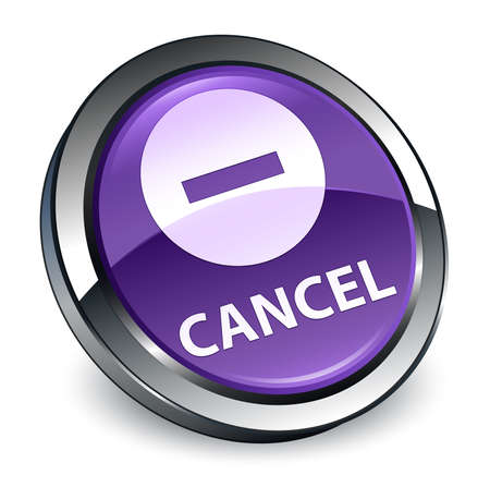 Cancel isolated on 3d purple round button abstract illustration