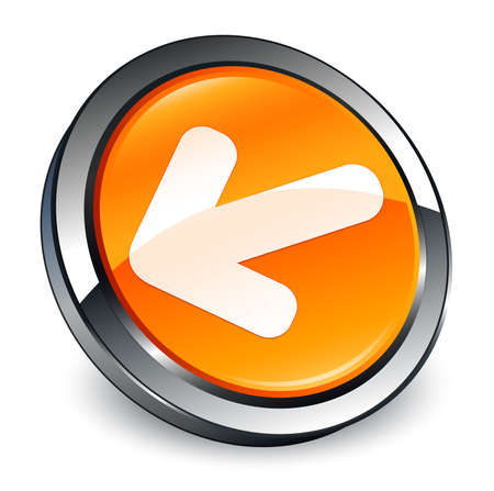 Back arrow icon isolated on 3d orange round button abstract illustration