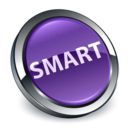 Smart isolated on 3d purple round button abstract illustration