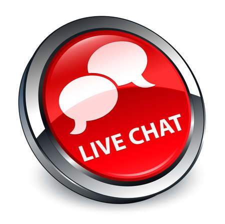 Live chat isolated on 3d red round button abstract illustration