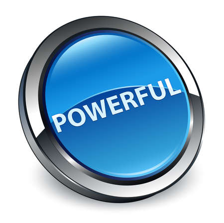 Powerful isolated on 3d blue round button abstract illustration 版權商用圖片