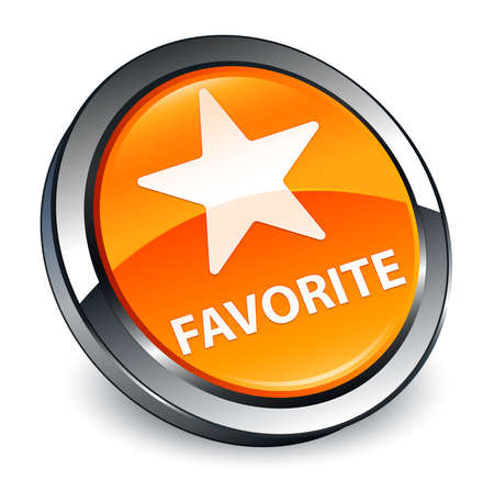 Favorite (star icon) isolated on 3d orange round button abstract illustration