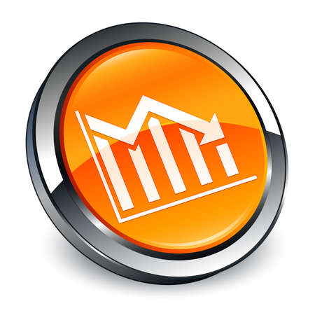 Statistics down icon isolated on 3d orange round button abstract illustration