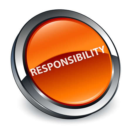 Responsibility isolated on 3d brown round button abstract illustration