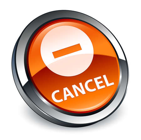 Cancel isolated on 3d brown round button abstract illustration