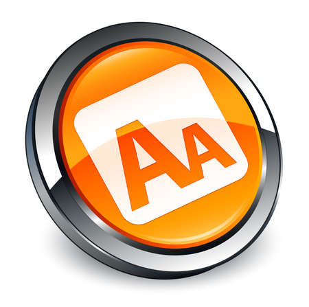 Font size box icon isolated on 3d orange round button abstract illustration