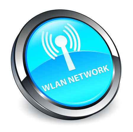 Wlan network isolated on 3d cyan blue round button abstract illustration