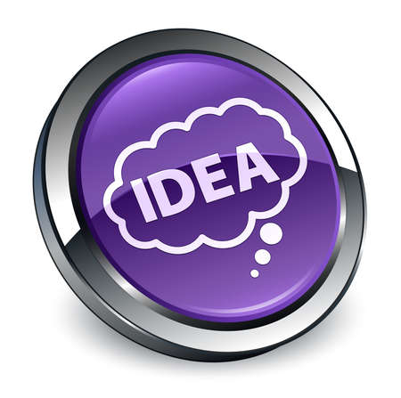 Idea bubble icon isolated on 3d purple round button abstract illustration
