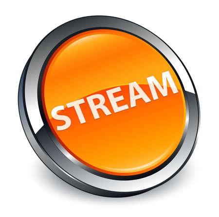 Stream isolated on 3d orange round button abstract illustration Reklamní fotografie