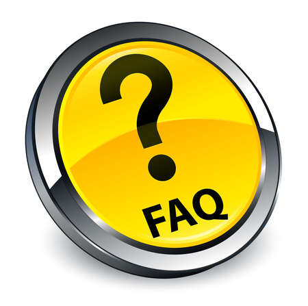 Faq (question icon) isolated on 3d yellow round button abstract illustration 版權商用圖片