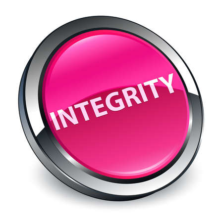 Integrity isolated on 3d pink round button abstract illustration