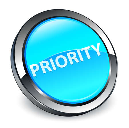 Priority isolated on 3d cyan blue round button abstract illustration Stock Photo