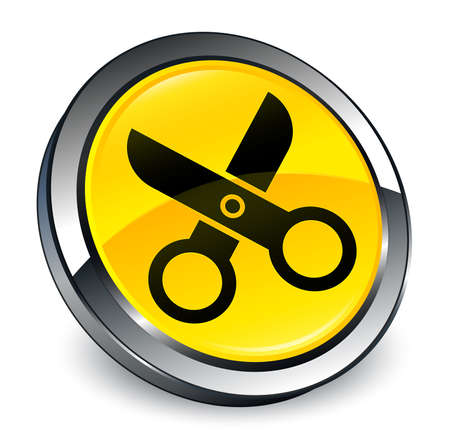 Scissors icon isolated on 3d yellow round button abstract illustration