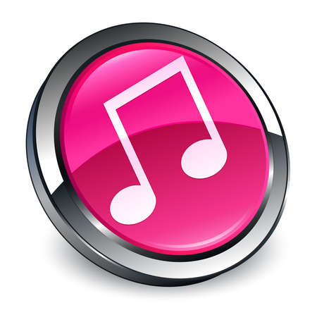 Music icon isolated on 3d pink round button abstract illustration Stock Photo