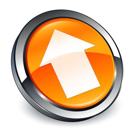 Upload arrow icon isolated on 3d orange round button abstract illustration