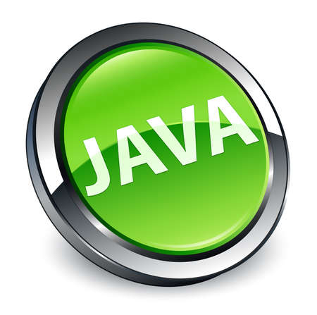 Java isolated on 3d green round button abstract illustration