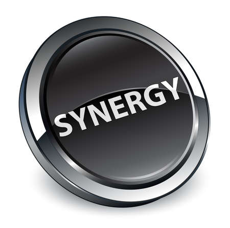 Synergy isolated on 3d black round button abstract illustration