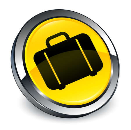 Bag icon isolated on 3d yellow round button abstract illustration