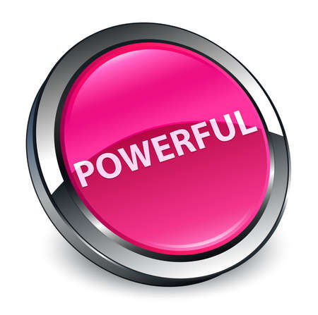 Powerful isolated on 3d pink round button abstract illustration