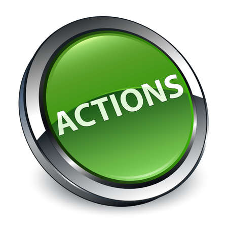 Actions isolated on 3d soft green round button abstract illustration