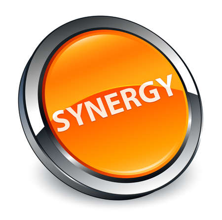 Synergy isolated on 3d orange round button abstract illustration