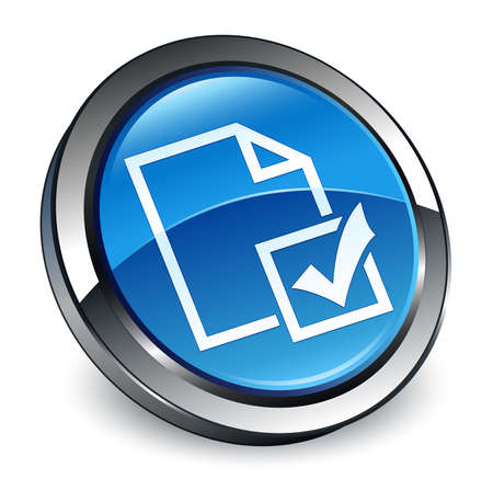 Survey icon isolated on 3d blue round button abstract illustration