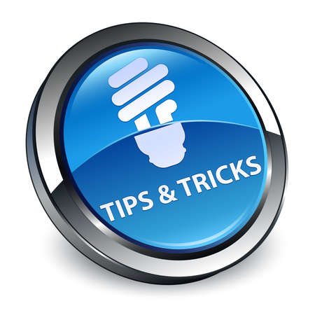 Tips and tricks (bulb icon) isolated on 3d blue round button abstract illustration Stock Photo