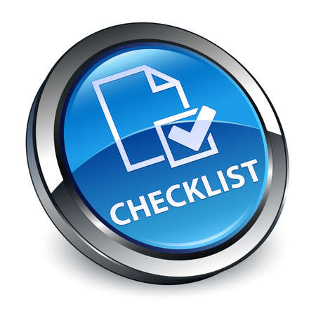 Checklist isolated on 3d blue round button abstract illustration