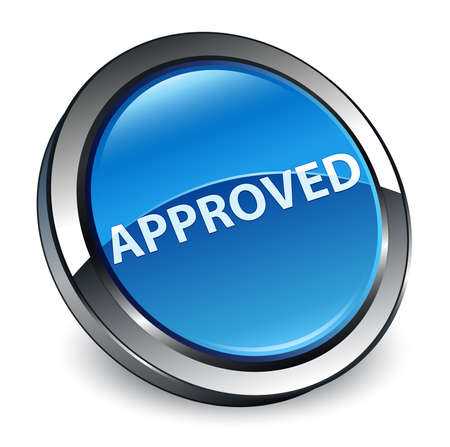 Approved isolated on 3d blue round button abstract illustration