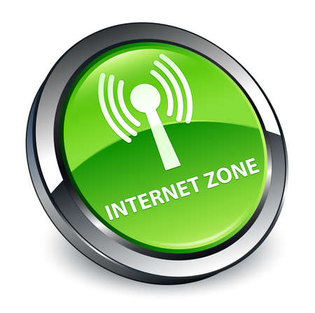 Internet zone (wlan network) isolated on 3d green round button abstract illustration