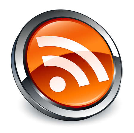 RSS icon isolated on 3d brown round button abstract illustration