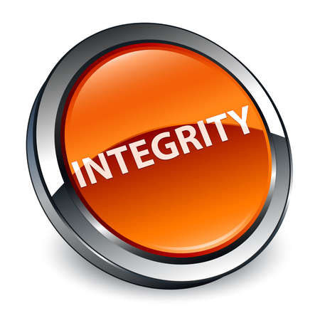 Integrity isolated on 3d brown round button abstract illustration Stock Photo