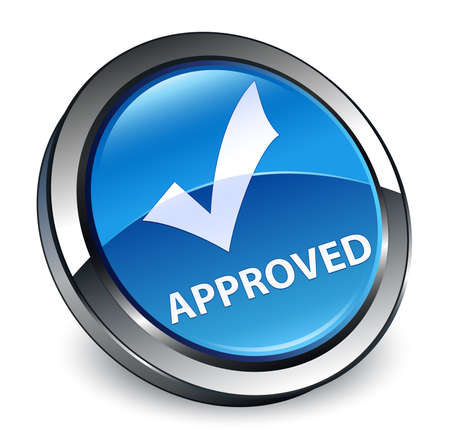 Approved (validate icon) isolated on 3d blue round button abstract illustration