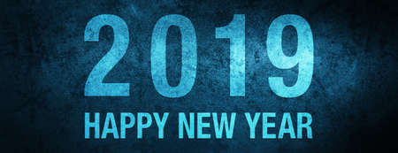 2019 Happy New Year isolated on special blue banner background abstract illustration 版權商用圖片