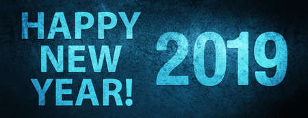 Happy new year! 2019 isolated on special blue banner background abstract illustration